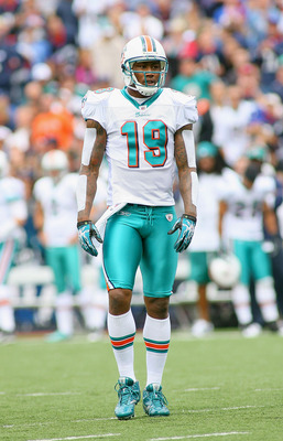 ORCHARD PARK, NY - SEPTEMBER 12: Brandon Marshall #19 of the Miami Dolphins stands on the field during the NFL season opener against the Buffalo Bills at Ralph Wilson Stadium on September 12, 2010 in Orchard Park, New York. The Dolphins won 15-10. (Photo