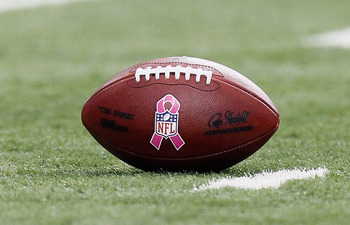 ATLANTA - OCTOBER 03:  General view of a game ball with a logo in recognition of Breast Cancer Awareness Month during the game between the Atlanta Falcons and the San Francisco 49ers at Georgia Dome on October 3, 2010 in Atlanta, Georgia.  (Photo by Kevin