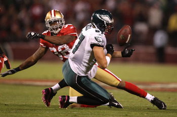 SAN FRANCISCO - OCTOBER 10:  Brent Celek #87 of the Philadelphia Eagles misses a pass as Dashon Golden #38 of  the San Francisco 49ers defends during an NFL game at Candlestick Park on October 10, 2010 in San Francisco, California.  (Photo by Jed Jacobsoh