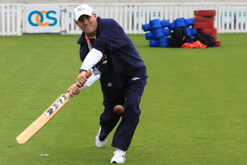 LONDON, ENGLAND - OCTOBER 29:  Head coach of the Denver Broncos Josh McDaniels plays cricket prior to the start of a team training session at The Brit Oval on October 29, 2010 in London, England. The Denver Broncos will play the San Francisco 49ers at Wem