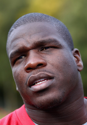 HERTFORD, ENGLAND - OCTOBER 27:  Frank Gore of the San Francisco 49ers talks to the media outside The Grove Hotel on October 27, 2010 in Hertford, England. The San Francisco 49ers will meet the Denver Broncos in the NFL International Series regular-season