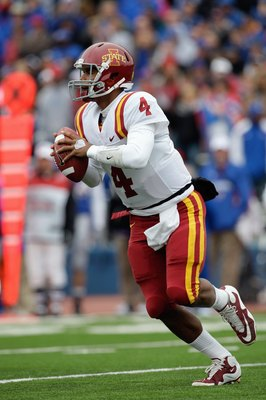 LAWRENCE, KS - OCTOBER 10:  Austen Arnaud #4 of the Iowa State Cyclones runs with the ball during the game against the Kansas Jayhawks on October 10, 2009 at Memorial Stadium in Lawrence, Kansas. (Photo by Jamie Squire/Getty Images)