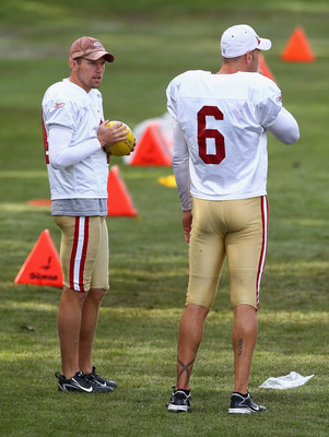 HERTFORD, ENGLAND - OCTOBER 27:  Andy Lee (L) and Joe Nedney of San Francisco 49ers have a chat  during a training session at The Grove Hotel on October 27, 2010 in Hertford, England. The San Francisco 49ers will meet the Denver Broncos in the NFL Interna