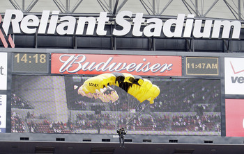 HOUSTON - OCTOBER 17:  U.S.Army Golden Knights parachute onto the field before the Kansas City Chiefs play the Houston Texans on military appreciation day at Reliant Stadium on October 17, 2010 in Houston, Texas.  (Photo by Bob Levey/Getty Images)