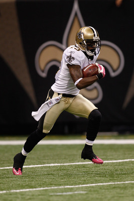 NEW ORLEANS - OCTOBER 24:  Courtney Roby #15 of the New Orleans Saints in action during the game against the Cleveland Browns at the Louisiana Superdome on October 24, 2010 in New Orleans, Louisiana.  (Photo by Chris Graythen/Getty Images)