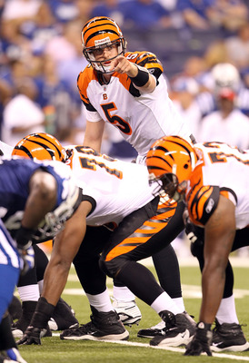INDIANAPOLIS - SEPTEMBER 02:  Jordan Palmer #5  of the Cincinnati Bengals gives instructions to his team during the NFL preseason game against the Indianapolis Colts at Lucas Oil Stadium on September 2, 2010 in Indianapolis, Indiana.  (Photo by Andy Lyons