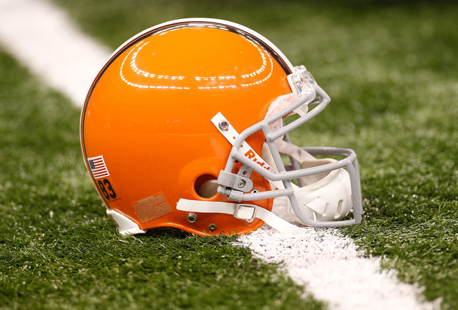 NEW ORLEANS - OCTOBER 24:  A helmet of the Cleveland Browns sits on the turf during pregame before playing the New Orleans Saints at the Louisiana Superdome on October 24, 2010 in New Orleans, Louisiana.  (Photo by Chris Graythen/Getty Images)