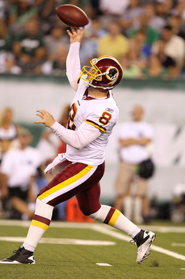 EAST RUTHERFORD, NJ - AUGUST 27:  Rex Grossman #8 of the Washington Redskins  in action against  the New York Jets  during their preseason game on August 27, 2010 at the New Meadowlands Stadium  in East Rutherford, New Jersey.  (Photo by Al Bello/Getty Im
