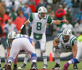 ORCHARD PARK, NY - OCTOBER 03: Mark Brunell #8  of the New York Jets calls signals against the Buffalo Bills at Ralph Wilson Stadium on October 3, 2010 in Orchard Park, New York.  (Photo by Rick Stewart/Getty Images)
