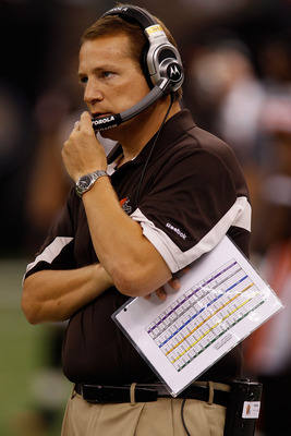 NEW ORLEANS - OCTOBER 24:  Head coach Eric Mangini of the Cleveland Browns watches a play during the game against the New Orleans Saints at the Louisiana Superdome on October 24, 2010 in New Orleans, Louisiana.  (Photo by Chris Graythen/Getty Images)