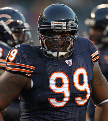 CHICAGO - AUGUST 28: Marcus Harrison #99 of the Chicago Bears participates in warm-ups before a preseason game against the Arizona Cardinals at Soldier Field on August 28, 2010 in Chicago, Illinois. The Cardinals defeated the Bears 14-9.  (Photo by Jonath