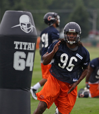 BOURBONNAIS, IL - JULY 30: Barry Turner #96 of the Chicago Bears works out during a summer training camp practice at Olivet Nazarene University on July 30, 2010 in Bourbonnais, Illinois. (Photo by Jonathan Daniel/Getty Images)