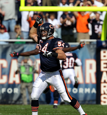 CHICAGO - OCTOBER 24: Brian Urlacher #54 of the Chicago Bears celebrates a defensive touchdown against the Washington Redskins at Soldier Field on October 24, 2010 in Chicago, Illinois. The Redskins defeated the Bears 17-14. (Photo by Jonathan Daniel/Gett