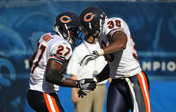 CHICAGO - SEPTEMBER 12: Major Wright #27 and Danieal Manning #38 of the Chicago Bears celebrate a defensive play against the Detroit Lions during the NFL season opening game at Soldier Field on September 12, 2010 in Chicago, Illinois. The Bears defeated t
