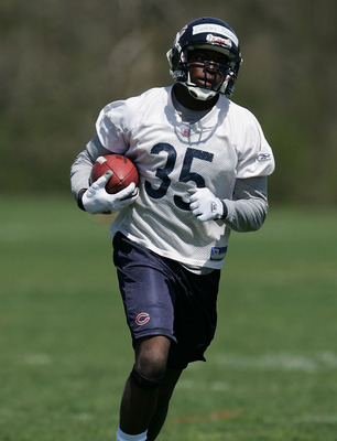 LAKE FOREST, IL - MAY 04:  Zackary Bowman #35 of the Chicago Bears runs with the ball during a rookie mini-camp practice at Halas Hall May 4, 2008 in Lake Forest, Illinois. (Photo by Jonathan Daniel/Getty Images)