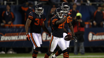 CHICAGO - SEPTEMBER 27:  Tim Jennings #26 of the Chicago Bears reacts after he recovered a fumble late in the fourth quarter against the Green Bay Packers at Soldier Field on September 27, 2010 in Chicago, Illinois.  (Photo by Jonathan Daniel/Getty Images