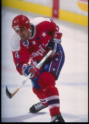 27 Jan 1993:  Defenseman Kevin Hatcher of the Washington Capitals moves down the ice during a game against the Buffalo Sabres at Memorial Auditorium in Buffalo, New York. Mandatory Credit: Rick Stewart  /Allsport