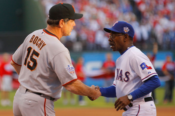 ARLINGTON, TX - OCTOBER 30:   Manager Ron Washington (R) of the Texas Rangers greets against manager Bruce Bochy the San Francisco Giants in Game Three of the 2010 MLB World Series at Rangers Ballpark in Arlington on October 30, 2010 in Arlington, Texas.