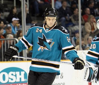 SAN JOSE, CA - JANUARY 24: Sandis Ozolinsh #24 of the San Jose Sharks skates against the St Louis Blues during an NHL game on January 24, 2008 at the HP Pavillion in San Jose, California. (Photo by Jed Jacobsohn/Getty Images)