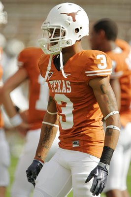 AUSTIN, TX - NOVEMBER 07:  Cornerback Curtis Brown #3 of the Texas Longhorns prepares for a game against the UCF Knights on November 7, 2009 at Darrell K Royal - Texas Memorial Stadium in Austin, Texas.  Texas won 35-3.  (Photo by Brian Bahr/Getty Images)