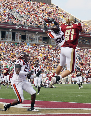 Hosley goes up for a pick in the end zone against BC