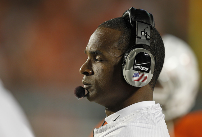 MIAMI, FL - OCTOBER 9: Head coach Randy Shannon of the Miami Hurricanes watches second half action against the Florida State Seminoles on October 9, 2010 at Sun Life Stadium in Miami, Florida. The Seminoles defeated the Hurricanes 45-17. (Photo by Joel Au