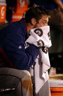 SAN FRANCISCO - OCTOBER 27:  Cliff Lee #33 of the Texas Rangers wipes his face after coming out of the game against the San Francisco Giants in Game One of the 2010 MLB World Series at AT&T Park on October 27, 2010 in San Francisco, California.  (Photo by