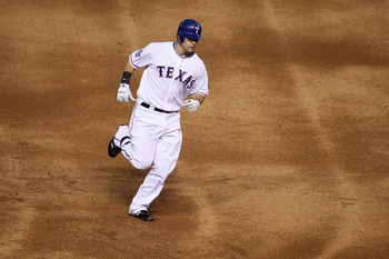 ARLINGTON, TX - OCTOBER 30:  Mitch Moreland #18 of the Texas Rangers rounds the bases after a 3-run home run in the bottom of the second inning against the San Francisco Giants in Game Three of the 2010 MLB World Series at Rangers Ballpark in Arlington on