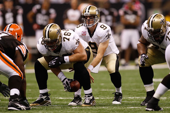 NEW ORLEANS - OCTOBER 24:  Drew Brees #9 of the New Orleans Saints in action during the game against the Cleveland Browns at the Louisiana Superdome on October 24, 2010 in New Orleans, Louisiana.  (Photo by Chris Graythen/Getty Images)