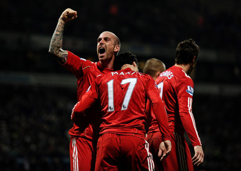 Meireles celebrates Maxi's winning goal