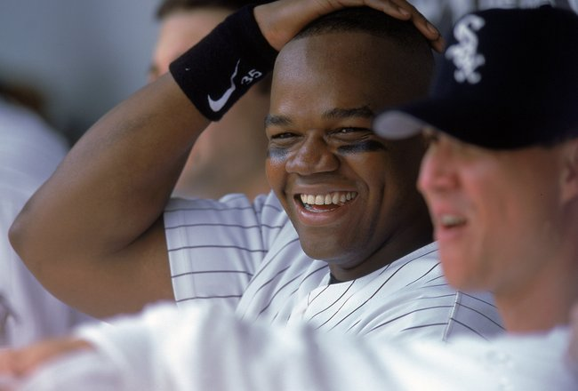 26 Jul 2000:  Frank Thomas #35 of the Chicago White Sox watches the action during the game against the Kansas City Royals at Comiskey Park in Chicago, Illinios. The Royals defeated the White Sox 7-6.Mandatory Credit: Donald Miralle  /Allsport