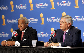 SAN ANTONIO - JUNE 21:  (L-R) Billy Hunter, President of the NBA Players Association and NBA commissioner David Stern speak at a press conference announcing that the NBA and the NBA Players Association have agreed in principal on a new 6-year Collective B