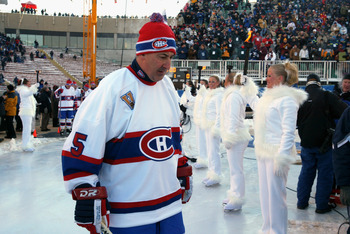 EDMONTON, CANADA - NOVEMBER 22:  Guy Lapointe #5 of the Montreal Canadiens skates onto the ice prior to taking on the Edmonton Oilers during the Molson Canadien Heritage Classic Megastars Game on November 22, 2003 at Commonwealth Stadium in Edmonton, Cana