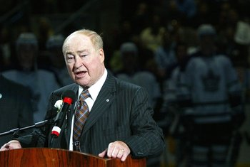 TORONTO - OCTOBER 4:  Leonard 'Red' Kelly addresses the crowd while he is honored prior to the Ottawa Senators playing the Toronto Maple Leafs on October 4, 2006 at the Air Canada Centre in Toronto, Ontario, Canada. The Senators defeated the Maple Leafs 4