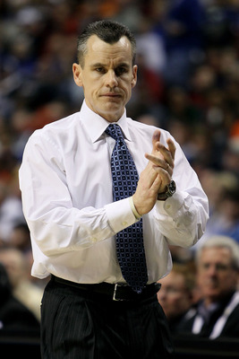 NASHVILLE, TN - MARCH 11:  Head coach Billy Donovan of the Florida Gators coaches against the Auburn Tigers during the first round of the SEC Men's Basketball Tournament at the Bridgestone Arena on March 11, 2010 in Nashville, Tennessee.  (Photo by Andy L