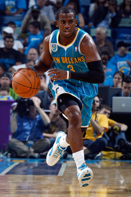 NEW ORLEANS - OCTOBER 27:  Chris Paul #3 of the New Orleans Hornets drives the ball up the court during the game against the Milwaukee Bucks at the New Orleans Arena on October 27, 2010 in New Orleans, Louisiana.   The Hornets defeated the Bucks 95-91.