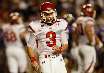 FORT WORTH, TX - NOVEMBER 14:  Quarterback Jordan Wynn #3 of the Utah Utes reacts in the second quarter of the game against the TCU Horned Frogs at Amon G. Carter Stadium on November 14, 2009 in Fort Worth, Texas.  (Photo by Ronald Martinez/Getty Images)