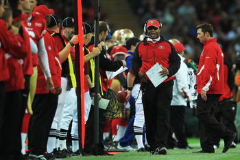 LONDON, ENGLAND - OCTOBER 31:  Mike Singletary head coach of San Francisco 49ers gives instructions during the NFL International Series match between Denver Broncos and San Francisco 49ers at Wembley Stadium on October 31, 2010 in London, England. This is