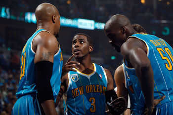 NEW ORLEANS - OCTOBER 27:  Chris Paul #3 of the New Orleans Hornets talks with his team during the game against the Milwaukee Bucks at the New Orleans Arena on October 27, 2010 in New Orleans, Louisiana.   The Hornets defeated the Bucks 95-91.   NOTE TO U