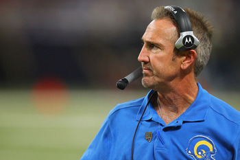 ST. LOUIS - OCTOBER 31: Head coach Steve Spagnuolo of the St. Louis Rams looks on from the side lines against the Carolina Panthersat the Edward Jones Dome on October 31, 2010 in St. Louis, Missouri.  The Rams beat the Panthers 20-10.  (Photo by Dilip Vis