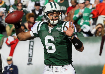 EAST RUTHERFORD, NJ - OCTOBER 31:  Mark Sanchez #6 of the New York Jets throws a pass against the Green Bay Packers on October 31, 2010 at the New Meadowlands Stadium in East Rutherford, New Jersey. The Packers defeated the Jets 9-0.  (Photo by Jim McIsaa