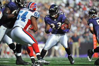 BALTIMORE, MD - OCTOBER 24:  Willis McGahee #23 of the Baltimore Ravens runs the ball against the Buffalo Bills at M&T Bank Stadium on October 24, 2010 in Baltimore, Maryland. The Ravens defeated the Bills 37-34. (Photo by Larry French/Getty Images)