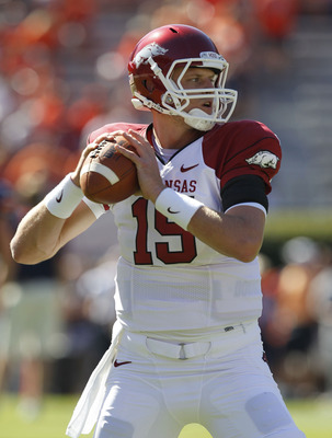 AUBURN, AL - OCTOBER 16:  Quarterback Ryan Mallett #15 of the Arkansas Razorbacks warms up before the game against the Auburn Tigers at Jordan-Hare Stadium on October 16, 2010 in Auburn, Alabama.  The Tigers beat the Razorbacks 65-43.  (Photo by Mike Zarr