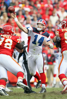 KANSAS CITY, MO - OCTOBER 31:  Quarterback Ryan Fitzpatrick #14 of the Buffalo Bills passes   during the game against the Kansas City Chiefs on October 31, 2010  at Arrowhead Stadium in Kansas City, Missouri.  (Photo by Jamie Squire/Getty Images)