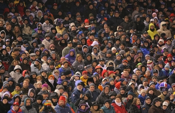 DENVER - OCTOBER 11:  General view of fans dressed for the second coldest game in the history of Coors Field as the Colorado Rockies host the Philadelphia Phillies in Game Three of the NLDS during the 2009 MLB Playoffs at Coors Field on October 11, 2009 i
