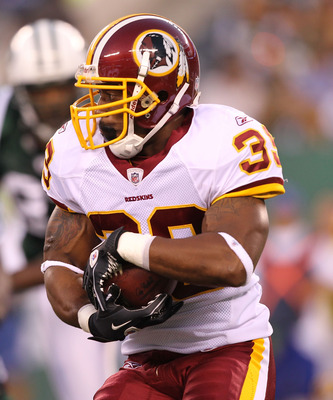 EAST RUTHERFORD, NJ - AUGUST 27: Keiland Williams #35 of the Washington Redskins  runs against the New York Jets during their preseason game on August 27, 2010 at the New Meadowlands Stadium  in East Rutherford, New Jersey.  (Photo by Al Bello/Getty Image