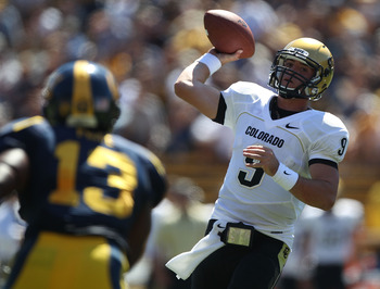 BERKELEY, CA - SEPTEMBER 11:  Jimmy Smith #3 of the Colorado Buffaloes passes against of the California Golden Bears at California Memorial Stadium on September 11, 2010 in Berkeley, California.  (Photo by Jed Jacobsohn/Getty Images)