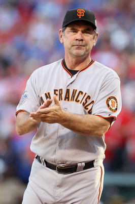 ARLINGTON, TX - OCTOBER 30:  Manager Bruce Bochy of the San Francisco Giants looks on during pregame festivities against the Texas Rangers in Game Three of the 2010 MLB World Series at Rangers Ballpark in Arlington on October 30, 2010 in Arlington, Texas.