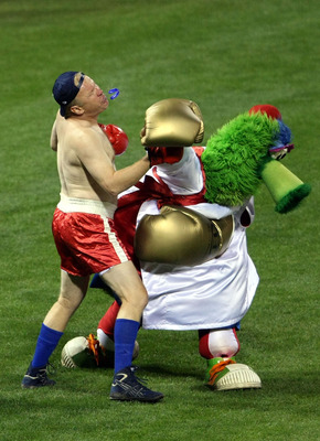 PHILADELPHIA - NOVEMBER 01:  The Philly Phanatic, mascot of the Philadelphia Phillies performs against the New York Yankees in Game Four of the 2009 MLB World Series at Citizens Bank Park on November 1, 2009 in Philadelphia, Pennsylvania.  (Photo by Nick