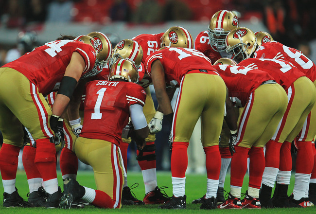 LONDON, ENGLAND - OCTOBER 31:  San Francisco 49ers huddle before the NFL International Series match between Denver Broncos and San Francisco 49ers at Wembley Stadium on October 31, 2010 in London, England. This is the fourth occasion where a regular seaso